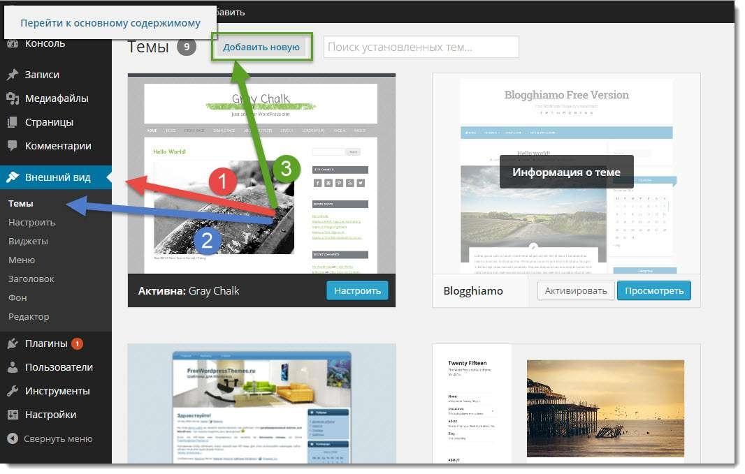 http://blogstarter.ru / Как установить шаблон на WordPress